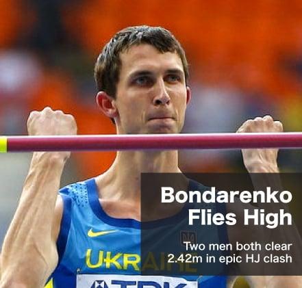 Bohdan Bondarenko and Mutaz Essa Barshim clear 2.42m