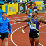 3rd quickest over 110mH David Oliver (USA) celebrates at Crystal Palace