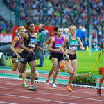 Briton Jenny Meadows leads the 800m field in Brussels