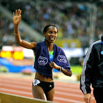 Former World 800m Champion Janeth Jepkosgei (Kenya) celebrates