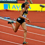 Allyson Felix (USA) in 400m action at Crystal Palace London