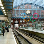 Olympic Rings at St Pancras International station 16 Sept 2011