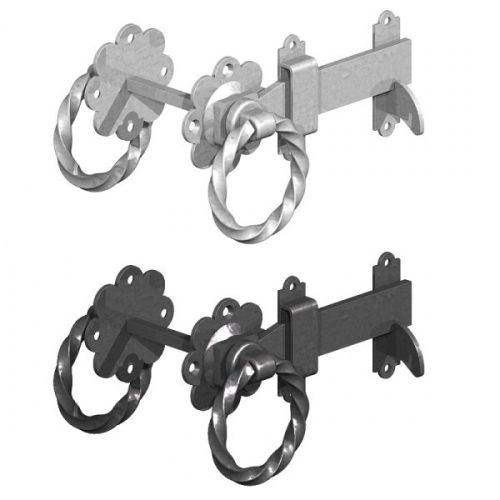 <!-- 0010 --> Ring Latch Twisted Black or Galvanised from