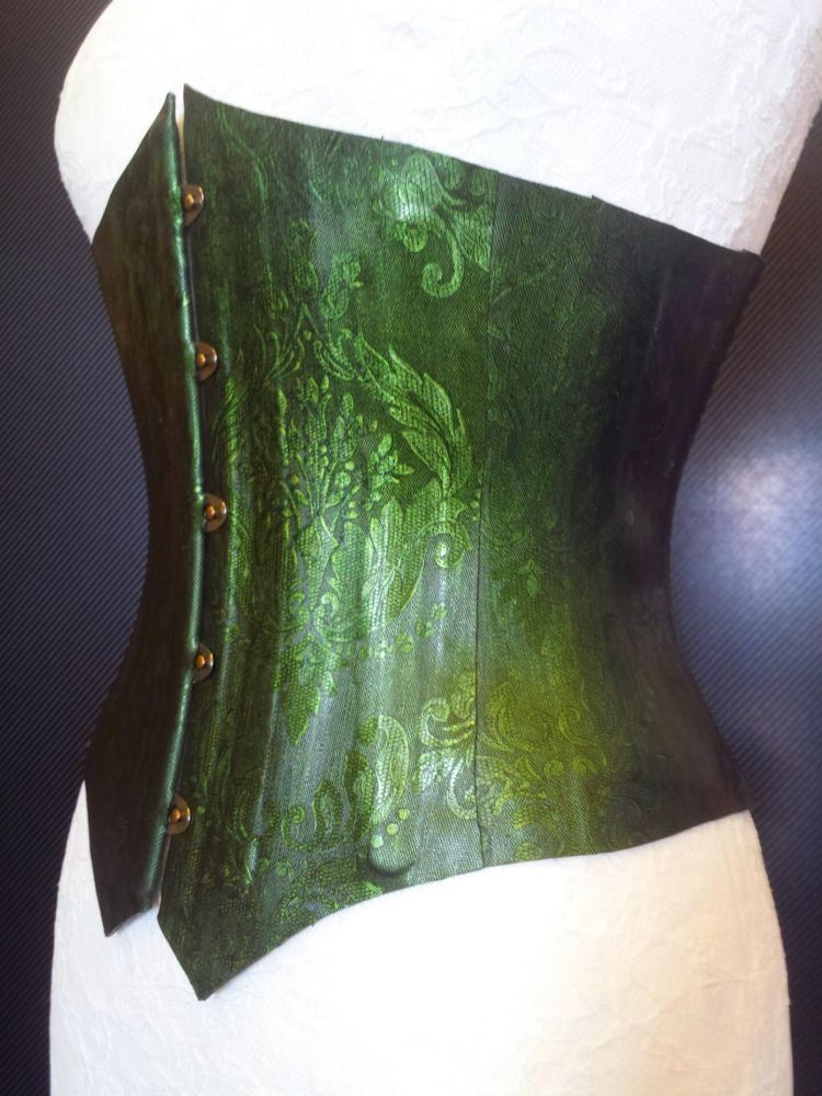 Brocade Latex Corset with Busk front and lace back
