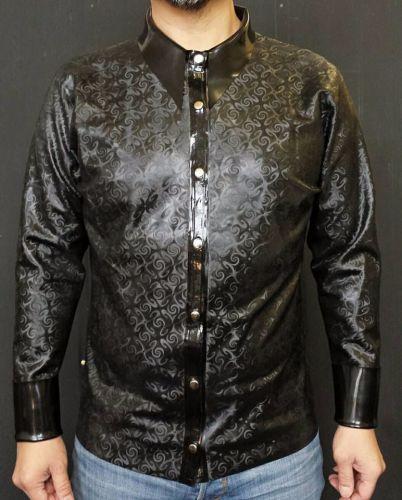 swirl latex patterned mens shirt