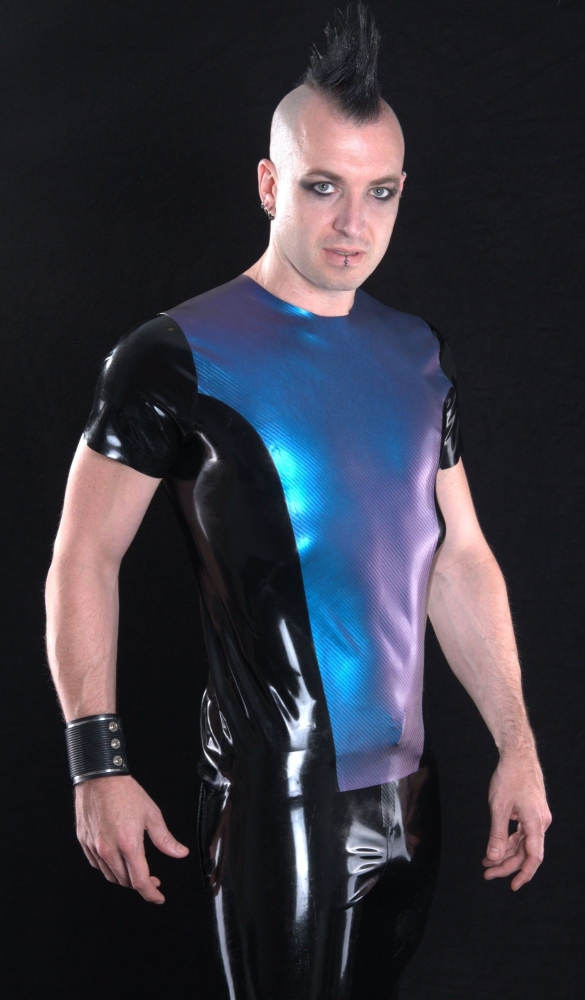 Men's T-shirt, carbon fibre texture latex panel