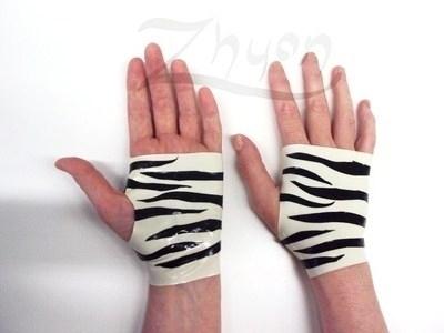 Latex Zebra Fingerless Mitts