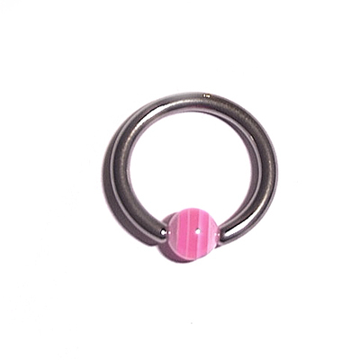 Captive Ball Ring with Pink UV Ball