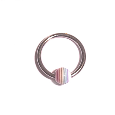 Captive Ball Ring with Rainbow UV Ball
