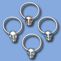 Captive Ball Ring, Skull with Gem Eyes
