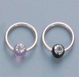 Captive Ball Ring, UV Gem Ball
