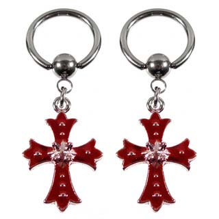 Captive Ball Ring with Red Enamel Cross Drop