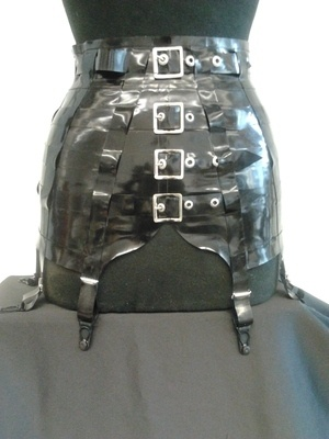 Latex 8 strap suspender girdle with belts