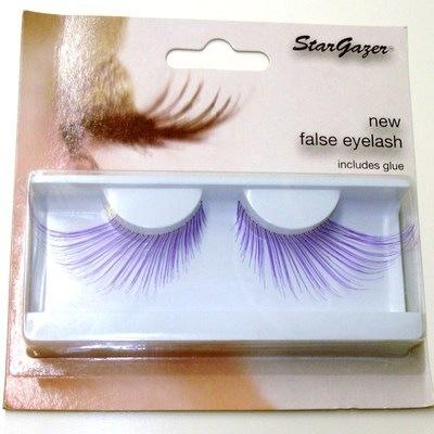 Stargazer Eyelashes Giant Purple Flare style (with glue) (and Free P&P)