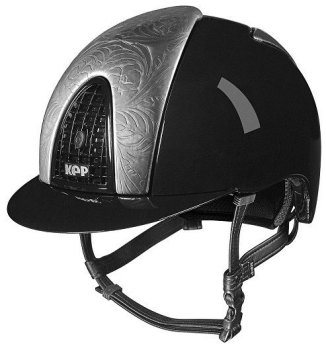KEP Cromo Metal Metallic Riding Helmet - Black Metallic/Silver Floral Design (£665.83 Exc VAT or £799.00 inc VAT)