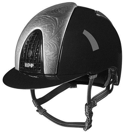 KEP Cromo Metal Metallic Riding Helmet - Black Metallic/Silver Floral Desig