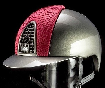 KEP Cromo Metal Metallic Riding Helmet - Grey Metallic/Pink Python (£654.17