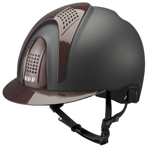 KEP E-Light Carbon Helmet - Matt Carbon With Shiny Burgundy Visor, Front &