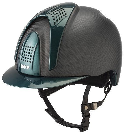 KEP E-Light Carbon Helmet - Matt Carbon With Shiny Green Visor, Front & Bac
