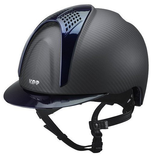 KEP E-Light Carbon Helmet - Matt Carbon With Shiny Blue Visor and Vent (£79