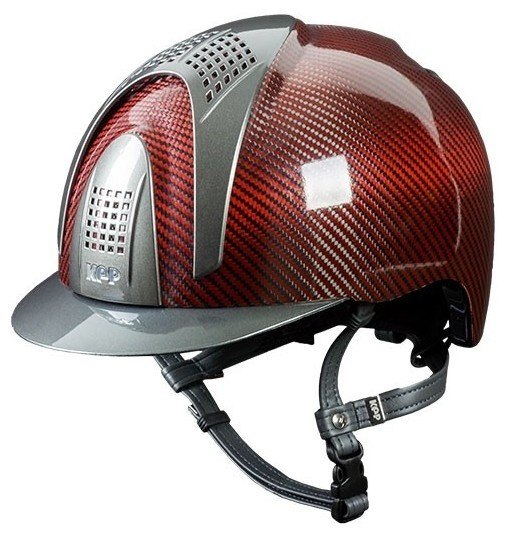 KEP E-Light Carbon Helmet - Shiny Red Carbon With Metallic Grey Inserts and