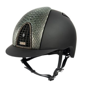 KEP Cromo Textile Black with Gold Laminated Python and Swarovski Crystals (£1008.33 Exc VAT & £1210.00 Inc VAT)
