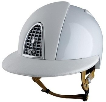 KEP CROMO Polo Helmet - White with silver grill and camel calf leather