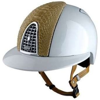 KEP CROMO Polo Helmet - White with silver grill and patent python finish
