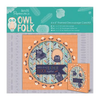 "Owl Folk - 6x6"" Framed Decoupage Card Kit"