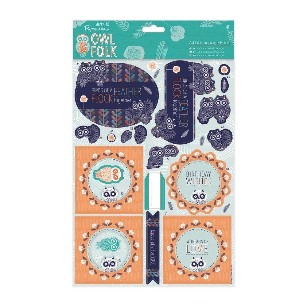 Owl Folk - A4 Decoupage Pack