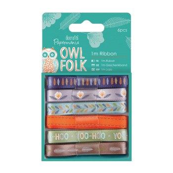 Owl Folk Ribbon - 1m Ribbon 6pcs