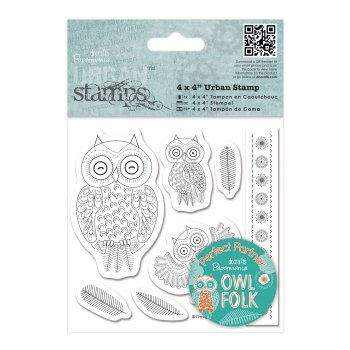 """4x4"""" Urban Stamps - Owls & leaves"""
