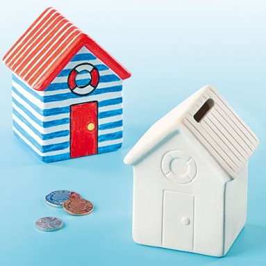 Ceramic Beach Hut Money Bank