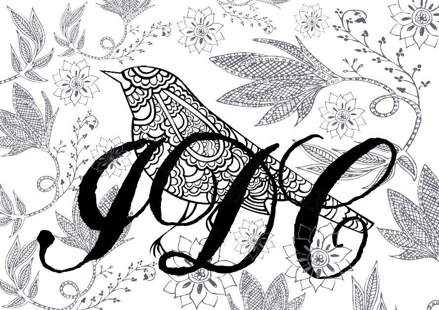 Floral bird colouring page