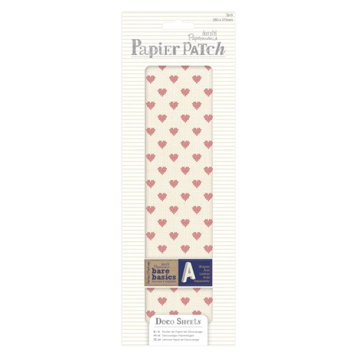 Papier Patch / Decopatch style paper - Cross stitch hearts