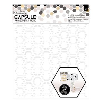 "8 x 8"" Adhesive Stencil (1pc) - Hexagons - Capsule - Geometric"