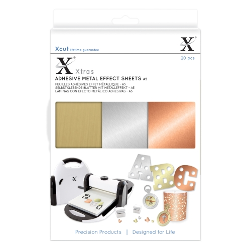 Xcut Xtra A5 Adhesive Metal Effect Sheets (20pcs)