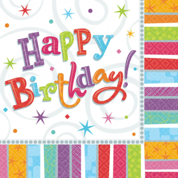 Radiant Birthday Napkins - pk16