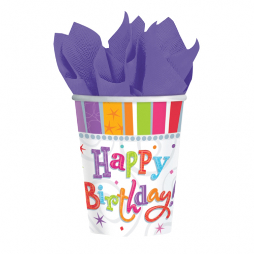 Radiant Birthday Paper Cups pk8