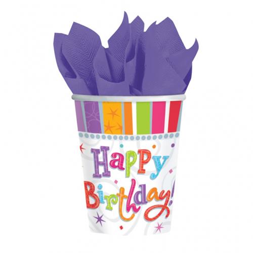 Radiant Birthday Paper Cups pk8
