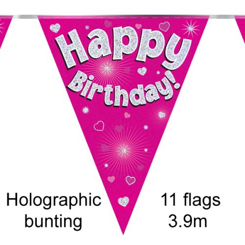 Birthday pink bunting - 3.9m