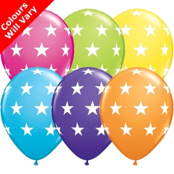 Balloons - Big Stars, Tropical Assortment Colours (Latex) pk6