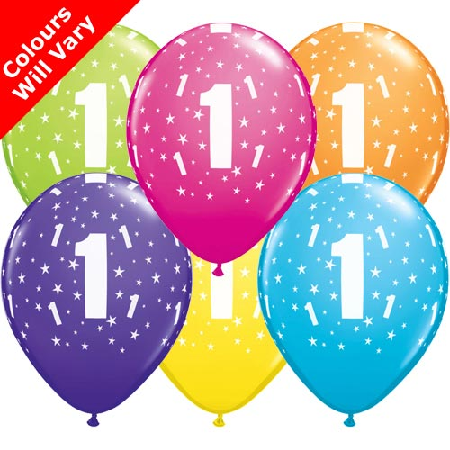 Balloons - '1' , Tropical Assortment Colours (Latex) pk6