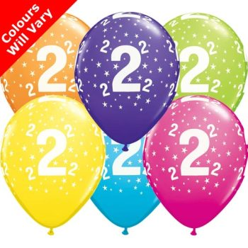 Balloons - '2' , Tropical Assortment Colours (Latex) pk6