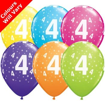 Balloons - '4' , Tropical Assortment Colours (Latex) pk6
