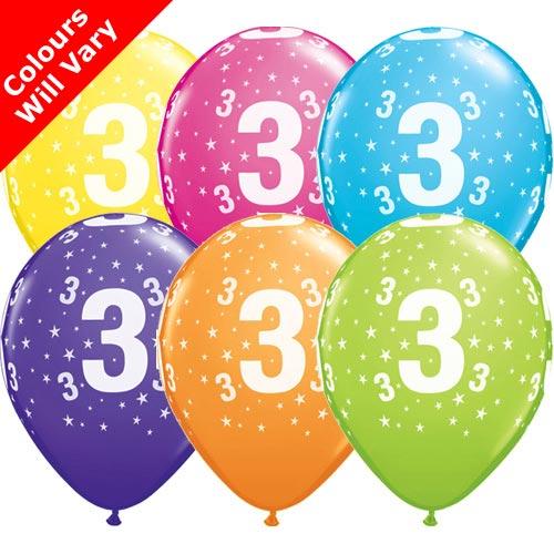 Balloons - '3' , Tropical Assortment Colours (Latex) pk6