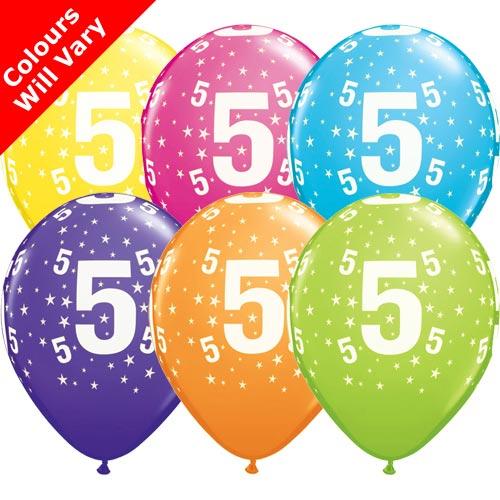 Balloons - '5' , Tropical Assortment Colours (Latex) pk6