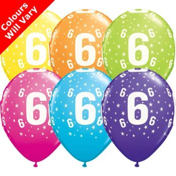 Balloons - '6' , Tropical Assortment Colours (Latex) pk6