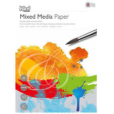 West Design Mixed Media Paper - White, A3, 250gsm, 30 sheets, acid free.
