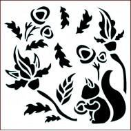 Imagination Craft 15cm x 15cm Stencil - Acorn Squirrel